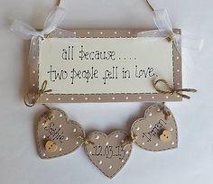 Shabby Chic Personalised Wedding Engagement Plaque Sign Gift Keepsake