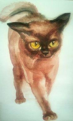 Original watercolor painting on paper, cat,pet  original drawing,dimensions 5x8 #Realism