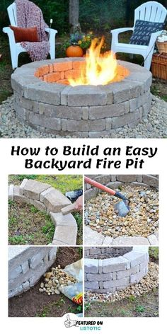 Garden Ideas Budget Backyard, Budget Patio, Diy Patio, Cheap Fire Pit, Easy Fire Pit, Fire Pits, Fire Pit Backyard, Backyard Patio, Fire Pit Front Yard