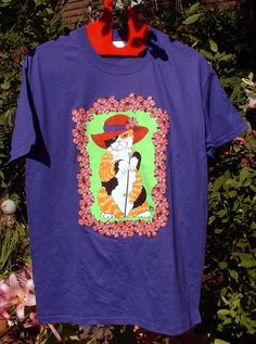 Calico Cat in Red Hat, t-shirt -My Dowager cat with the bulldog cane. $18.00, via Etsy.