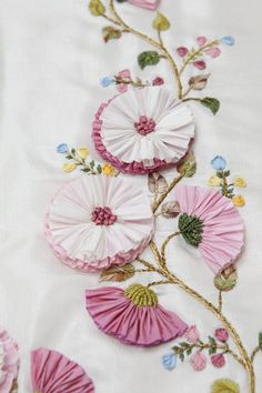 Silk Ribbon Embroidery Flowers Tutorial before Silk Embroidery Monogram through Embroidery Stitches Chart, Ribbon Embroidery On Tulle Ribbon Embroidery Tutorial, Silk Ribbon Embroidery, Embroidery Stitches, Embroidery Patterns, Hand Embroidery, Embroidery Bracelets, Embroidery Monogram, Embroidery Supplies, Stitch Patterns