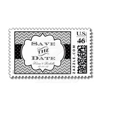 Save the Date Postage Stamp Stamps Chevron Modern from Zazzle.com