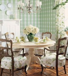multiple patterns in country French design, Country French dining room, green Country French dining room