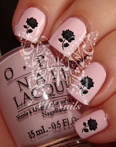 Black Rose Nail Art Nail Water Decals Transfers Wraps