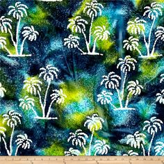 Indian Batik Ocean Grove Palm Trees Aqua/Olive/Blue from @fabricdotcom  From Textile Creations, this ocean inspired Indian batik is perfect for quilting, apparel and home decor accents. Colors include shades of blue, shades of green and white.