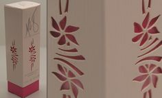 Laser cut Maria Sharapova perfume box with pastel, floral accents.