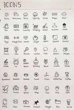 Icon doodles for pretty bullet journal pages. Ideas for bullet journal icons. Bring your bullet journal or diary to life. Bullet Journal Headers, Bullet Journal Banner, Bullet Journal 2019, Bullet Journal Notebook, Bullet Journal Inspo, Bullet Journal Layout, Bullet Journal Ideas How To Start A, Bullet Journal Labels, Bullet Journal For School
