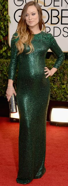 Olivia Wilde in green Gucci at the Golden Globe awards... looking very similar to Angelina Jolie's stunner from 2011.