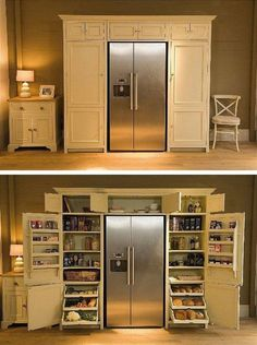 Pantry surrounding fridge. All food in one place!   A girl can dream.