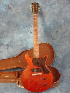 Cherry Red Les Pul Junior double cutaway with the original 'lipstick' style case