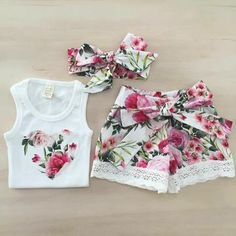 Summer Kid Toddler Baby Girl Clothes Floral Top+Shorts Pants Outfit He – Straight Out the Playground Girls Summer Outfits, Dresses Kids Girl, Little Girl Outfits, Cute Girl Outfits, Toddler Girl Outfits, Baby Girl Fashion, Toddler Fashion, Kids Fashion, Fashion Outfits
