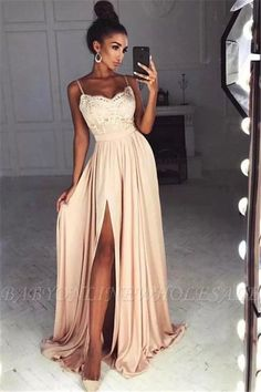 Simple Party Dress Spaghetti Straps Prom Dress Lace Top Side Split Prom Dress Long A Line Prom Dresses Split Prom Dresses, A Line Prom Dresses, Maxi Dresses, Dress Prom, Dress Long, Party Dresses, Pagent Dresses, Long Dresses, Chiffon Dresses