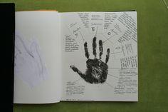 Visuaalinen suunnittelu, 9 op, osa 2/3. Käsin tehty kirja: Käsin tehty muoto, käsittävä käsi. Arvosana: 4. Muotoiluinstituutti, 2002–2006, viestinnän koulutusohjelma, graafinen suunnittelu. © Natasha Varis, 2005.