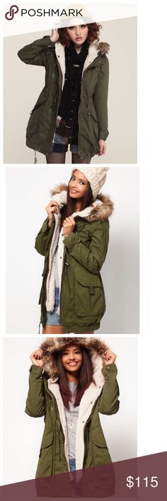 """Prince and Fox Sherpa Lined Coat a/ Faux Fur Trim Prince & Fox Sherpa Lined Parka new with tags. It features a fleece lining, removable faux fur trim and a zip placket with storm flap. Relaxed fit. Approx. length: 30.5"""" Shell: 90% polyester, 10% nylon. Linings/fill: 100% polyester. Faux fur: 47% modacrylic, 40% acrylic, 13% polyester.  Machine wash/dry. Also available in black. Model height: 5'9"""". REASONABLE OFFERS ACCEPTED. Jackets & Coats"""