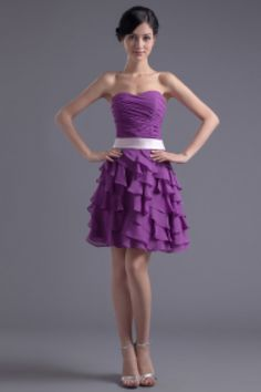 Short Prom Dress Chiffon Sweetheart Strapless Homecoming Dress Ruffle Tierd Lavender Cocktail Dress With Bow Sash 1 220x330 Stand out at the party in a cocktail dress