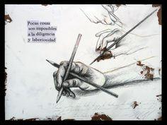 """LABORIOSIDAD Grafito, lápiz de color y collage sobre tabla preparada. 30x40 Obra de la serie """"7 Virtudes"""" del proyecto SEPTIES SEPTEM. http://septiesseptem.blogspot.com.es/"""