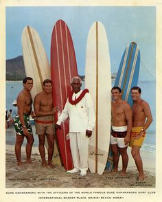 Signed picture of Duke Kahanamoku with officers of his surf club on Waikiki Beach. Used for a Pan Am promotional flier. From the collection of Mark Blackburn. Vintage Hawaii, Surf Mar, Vintage Surfing, Mahalo Hawaii, Vintage Surfboards, Surfing Pictures, Into The Fire, Waikiki Beach, Ocean Beach