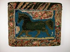 Late 19th Century Hooked Rug with Horse and Abstract Flowers.  Jewett-Berdan Antiques.