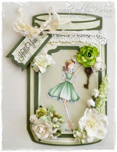 As I so love this card shape I just made another one with the Dutch Doobadoo Cookie Jar and one of. Mason Jar Tags, Prima Doll Stamps, Journal Notebook, Little Darlings, Cookie Jars, Homemade Cards, Paper Dolls, Notebooks, Journals