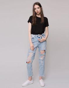 Pull&Bear - dames - jeans - mom jeans met scheuren - l blauw - 09684323-I2015