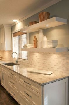 Stylish yet timeless kitchen designs Making your kitchen timeless, functional and gorgeous is not as difficult as you might think. Anyone can create a timeless kitchen design … KITCHEN Kitchen Redo, Kitchen Shelves, Kitchen Ideas, Kitchen Tile, Kitchen Designs, Kitchen Cabinets, Floating Shelves In Kitchen, Rustic Kitchen, Open Kitchen