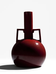 Christopher Dresser, Double-handed vase, 1892. Glazed earthenware. Made by Ault Pottery, England. Via Galerie Oscar Graf