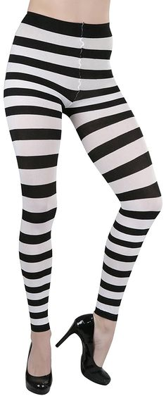 e0543d310f3f ToBeInStyle Women's Striped Leggings - Black/White at Amazon Women's  Clothing store: