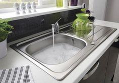 Lamona Drayton single bowl sink with Lamona Chrome Arno single lever tap and Black Slate Tile Effect backboard