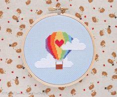 Cute Rainbow Hot Air Balloon Easy Beginners Cross Stitch