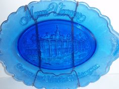 Cobalt Blue Glass Tray  Avon collectible by SocialmarysTreasures, $9.00