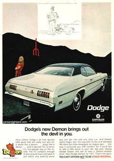 1971 Dodge Demon - Dodge's new Demon brings out the devil in you - Original Ad