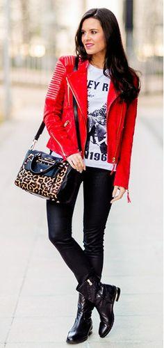 fbda69d031 black leather leggings and red leather jacket Chaqueta Cuero Roja