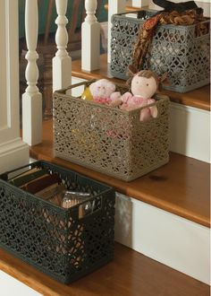 Mode Crochet Knit Baskets by Heritage Lace. Great for holding plants, snacks, silverware, toys and more! #home #decor #storage #knit