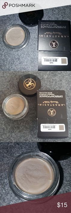 Anastasia Beverly Hills Dipbrow Pomade in Taupe AUTHENTIC Anastasia Beverly Hills Dipbrow Pomade in Taupe. Used twice, too dark for me. Sanitized. You can see how much has been used in pictures, which isn't much at all. Don't have the receipt, bought on Macy's.com a few months ago. Anastasia Beverly Hills Makeup Eyebrow Filler