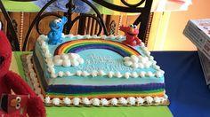 Sesame Street Elmo rainbow cake