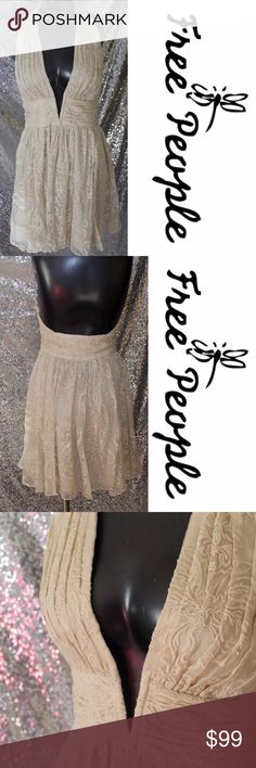 💥CLEARANCE 💥Free People Women's Candy's Plunging FP EXCLUSIVE: Only sold thru Free People Featuring a dramatic plunging V-neckline, this luxe silk mini dress has an allover embroidery design and a swingy skirt. Halter neck with button closures and a hidden side zip. Lined.  100% Silk Dry Clean Free People Dresses Mini