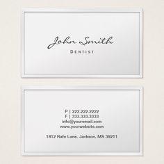 Dental Care Classy White Border Dentist Business Card