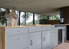 The Glass House kitchen by Philip Johnson in New Canaan Connecticut photographed by Matthew Williams |  Remodelista