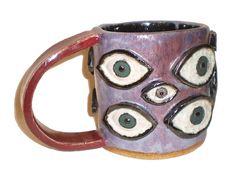 Eye Coffee Cup 19  Handbuilt purple slab cup by Aaron Nosheny / Aberrant Ceramics #ceramics #etsy #handmade