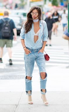 Sara Sampaio from Street Style at New York Fashion Week Spring 2017  Denim will…