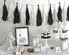 Inspiración mesas dulce para Halloween en blanco y negro by Habitan2