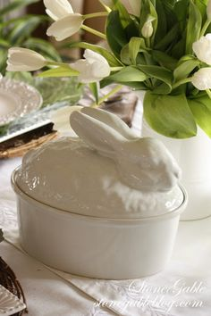 To continue the Easter theme my bunny tureen (Pottery Barn) joined the centerpiece…
