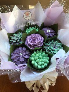 Small succulent and floral arrangement www.bakedblooms.com