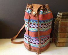 Vtg Aztec Cotton & Leather Duffle Crossbody by JansVintageStuff, $76.00