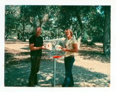Ed and Ken Headrick with their Friz Pole Hole installed in Oak Grove Park March 19, 1976.