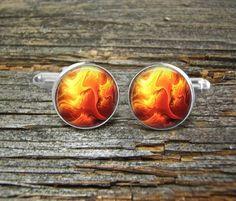Fire Flame Cufflinks-Wedding-Jewelry Box-Silver-Gold-Keepsake-Man gift-Men-History-Science-Geek-Space-Fireman-Tattoo by CynthiaCoolBeans on Etsy
