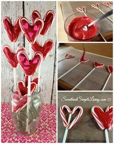 Valentine's Day Lollipops made from candy canes
