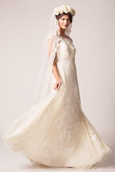 The Temperley Bridal Winter 2015 Collection - Chrys Dess & Long Honour Veil #wedding #dress #silk #ivory #embroidered #veil #TemperleyLondon