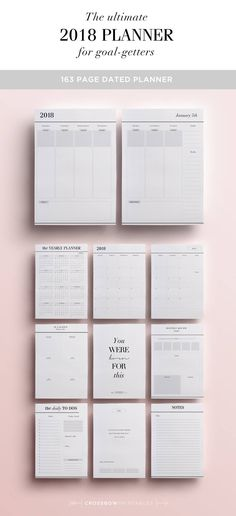 More than just a diary, the 2018 planner has the right prompts to help you be productive and effective all year long, and is perfect for lovers of minimal design. Kick start the year by setting yearly goals with the sheets provided, then break them down into manageable quarterly