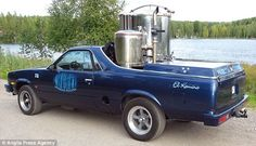 """""""Juha Sipila's El Camino pick-up can cover 125 miles on a hundredweight and half of wood chips but carries enough timber for 800 miles."""""""